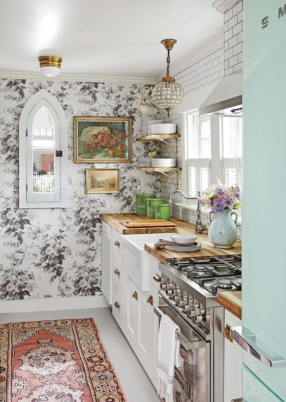 papel pintado en cocina